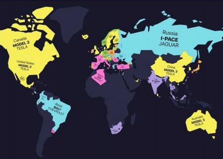 پرفروش ترین خودروهای برقی در جهان روی نقشه